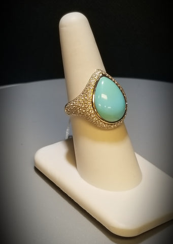 EFFY 14KT Yellow Gold Diamond and Turquoise Ring Size 7