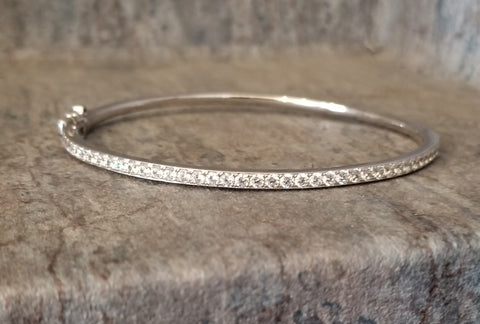Sterling Silver and CZ Bangle Bracelets