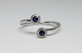14KT White Gold Contemporary Fashion Ring Diamond and Sapphire