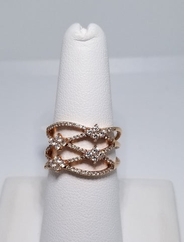 14K Rose Gold Diamond Criss Cross Fashion Ring