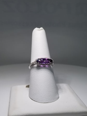 14K White Gold Elongated Oval Amethyst and Diamond Semi Precious Fashion Ring