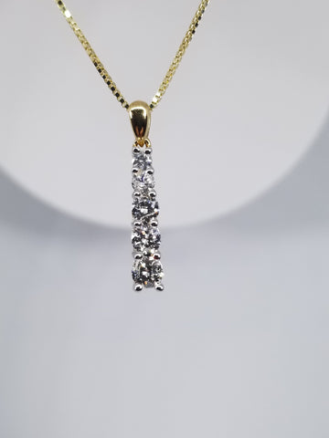 14kt Yellow Gold .75 TCW Diamond Journey Pendant
