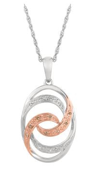 Lady's Sterling Silver & Rose Gold Pendant With Diamonds.