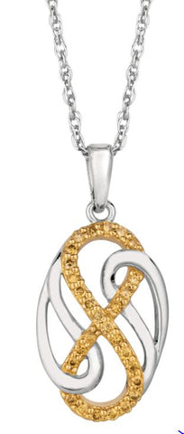 Lady's Sterling Silver & Yellow Gold Pendant With Diamonds.