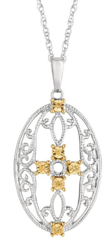 Lady's White Sterling Silver Flower Pendant with Citris Diamonds.