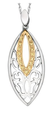 Lady's White Sterling & Yellow Gold Silver Drop Pendant With Citris Diamonds.