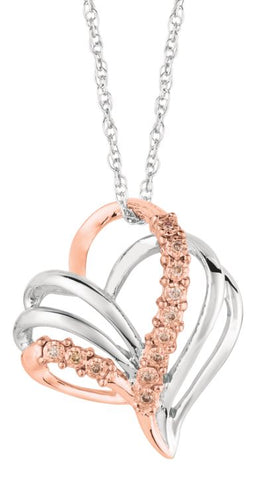 Lady's Sterling Silver & Rose Gold Heart Of Hope Pendant With Cappuccino Diamonds.