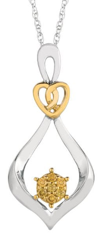 Lady's Sterling Silver & Yellow Gold Pendant With Citris Diamonds.