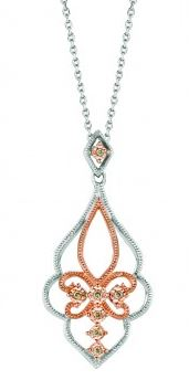 Lady's Sterling Silver And Rose Gold Pendant With Diamonds.