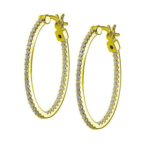ELLE Lady's Yellow Sterling Silver Large Hoop Earrings