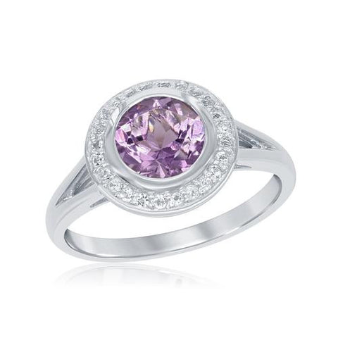 Benjamin Cohen Sterling Silver Silver Amethyst/White Topaz Ring