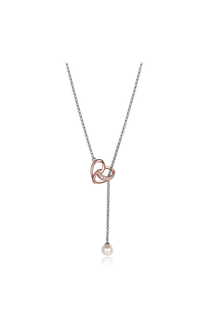 ELLE Amour Collection Two Tone Heart Necklace with Pearl N10019RWZ17