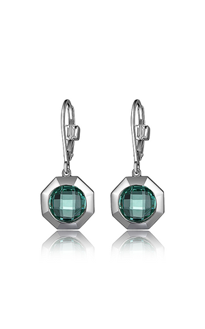 ELLE Sterling Silver Synthetic Green Quartz Earrings