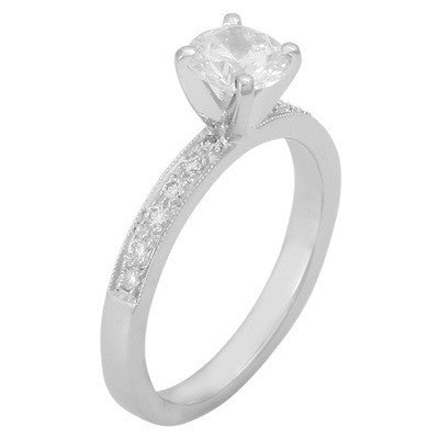 Levy Creations 14 Karat White Gold Engagement Ring with 0.17 CTS Bead Set Round Diamonds