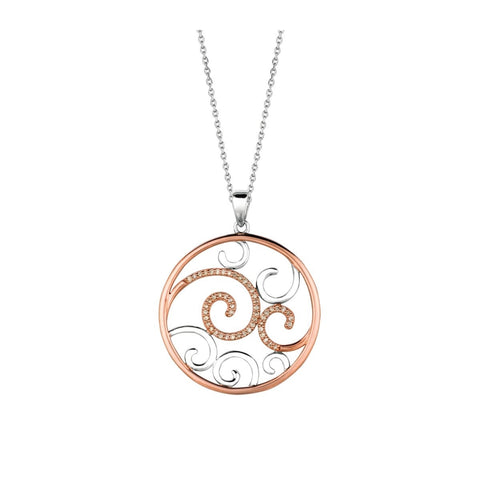 Pancis Gems White Sterling Silver and 14K Rose Gold Cappuccino Pendant with Cappuccino Diamonds Necklace
