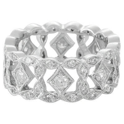 Levy Creations 14 Karat White Gold Band with 0.95 CTS Bead Set Round Brilliant Diamonds