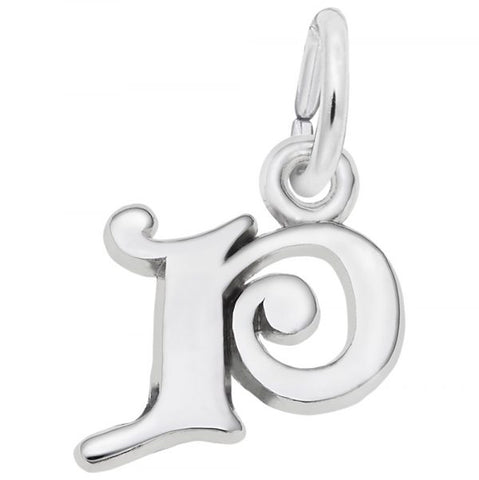 Curly Initial P Accent Charm