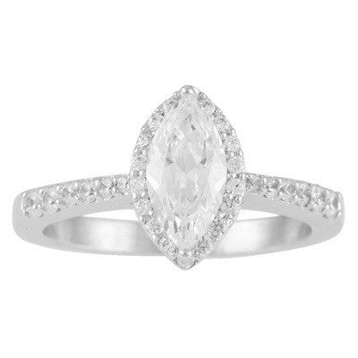 Levy Creations 14 Karat White Gold Halo Engagement Ring With One 0.64Ct Marquise F SI2 Center Diamond And 0.32CTW Round Brilliant Diamonds