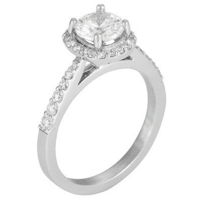 Levy Creations 14 Karat White Gold Halo Prong Set Engagement Ring With 0.33ctw Round Brilliant Diamonds