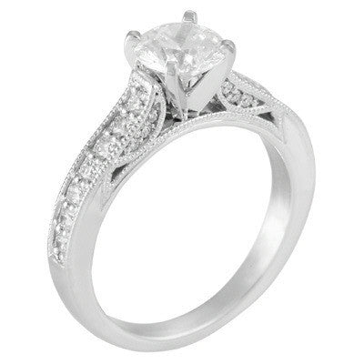 Levy Creations 14 Karat White Gold Bead Set Engagement Ring With 0.41 ctw Round Brilliant Diamonds