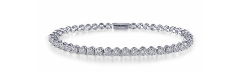 Lafonn Sterling Silver And Platinum Simulated Diamond Bezel Tennis Bracelet
