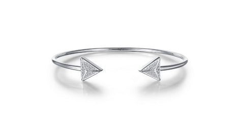 Lafonn Sterling Silver And Platinum Simulated Diamond Flexible Open Top Geometric Wire Bangle Bracelet