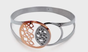 Lady's Sterling Silver & Rose Gold Plated Open Cuff Bracelet.
