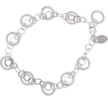 Lady's Sterling Silver Diamond Cut Multi Circle And Chain Kinship Bracelet.