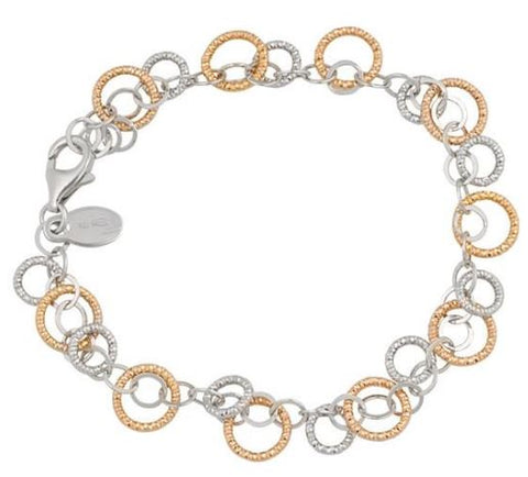 Lady's Rose and White Gold Sterling Silver Sparkle Ring Bracelet.