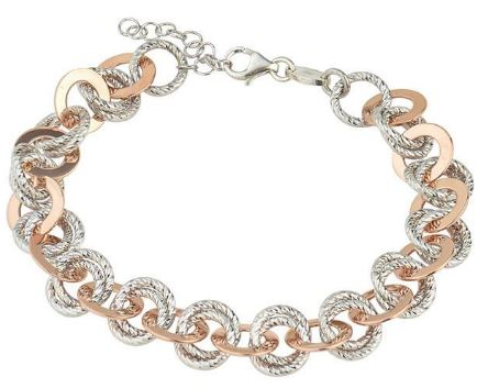 Lady's Sterling Silver & Rose Gold Plated Cindy Bracelet.
