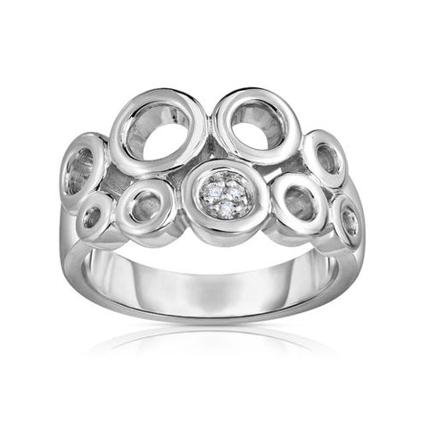 Bentelli Sterling Silver Contemporary Ring with Diamonds and Polished Finish