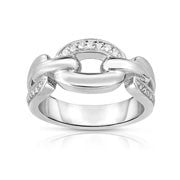 Bentelli Sterling Silver Contemporary White Sapphire Ring