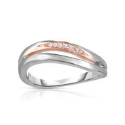 Bentelli Silver Silver and 14k Gold and Diamond Ring