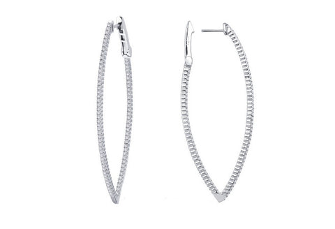 Lafonn Sterling Silver And Platinum Marquis Shaped Hoops Pendant Round Lassaire Simulated Diamonds