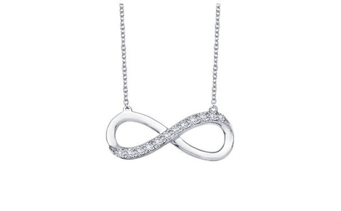 Lafonn Sterling Silver And Platinum Infinity Pendant With Round Lassaire Simulated Diamonds