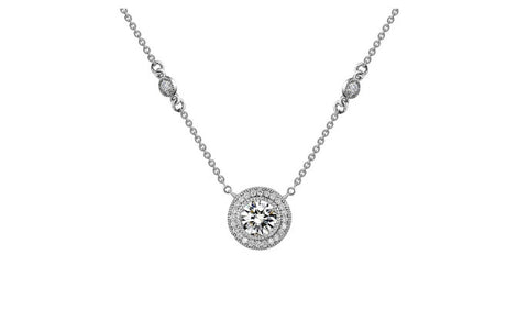 Lafonn Sterling Silver Bezel Halo Pendant With Round Lassaire Simulated Diamonds