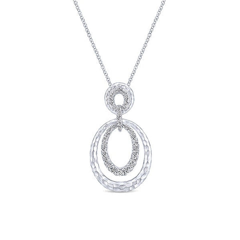 Gabriel and Co. Sterling Silver Circle Pendant with 34 Round White Sapphires