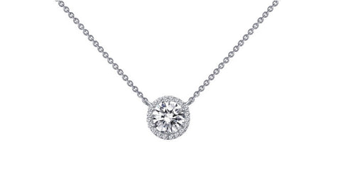 Lafonn White Sterling Silver And Platinum Halo Pendant With Round Lassaire Simulated Diamonds