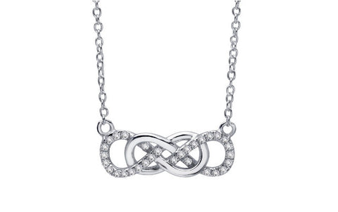 Lafonn Sterling Silver And Platinum Double Infinity Pendant With Round Lassaire Simulated Diamonds