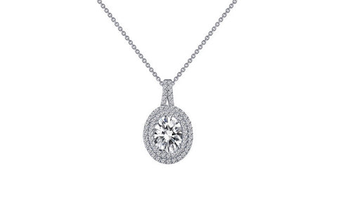 Lafonn Sterling Silver Oval Solitaire Simulated Lassaire Diamond Pendant