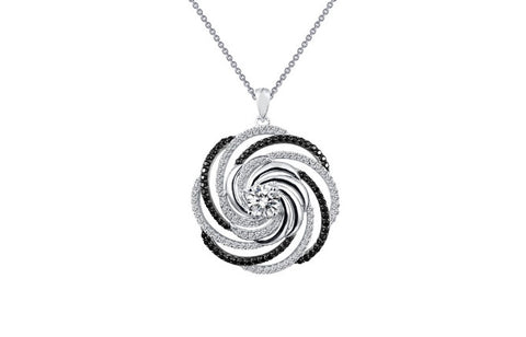 Lafonn Sterling Silver Swirl Black & White Simulated Diamonds