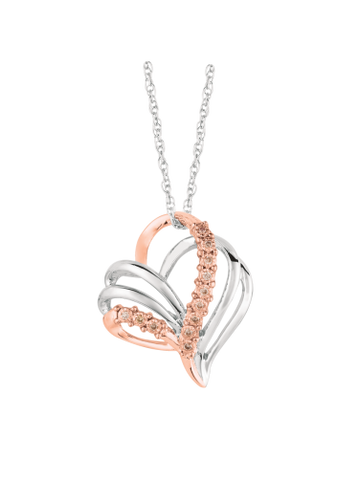 Pancis Gems Sterling Silver and Rose Gold Heart Pendant with 12 Round Cappuccino Diamonds