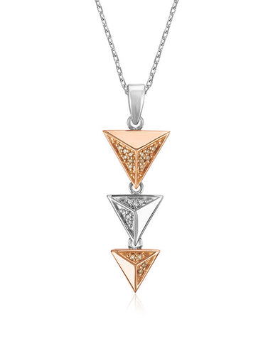 Pancis Gems Sterling Silver and Rose Gold Triangle Pendant with Cappuccino and White Diamonds
