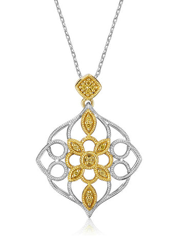 Pancis Gems Yellow Gold Sterling Silver Pendant with 13 Round Citrus Diamonds