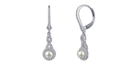 Lafonn Lady's Freshwater Pearl Drop Earrings With Round Lassaire Simulated Diamonds