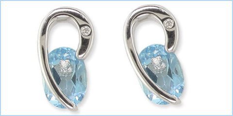 Bentelli Sterling Silver .01 ct Diamond and Blue Topaz Earrings