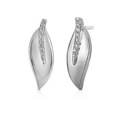 Bentelli Sterling Silver .06 ct Diamond Leaf Earrings