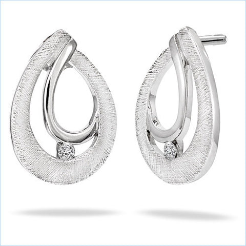 Bentelli Sterling Silver with .03 ct Diamond Double Raindrop Earrings