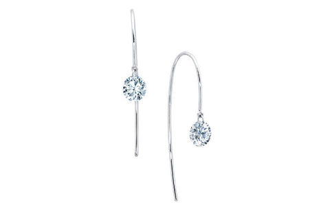 Lafonn White Sterling Silver Simulated Lassaire Diamond In Motion Single Round Wire Earrings
