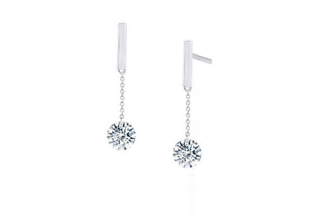 Lafonn Sterling Silver Simulated Diamond In Motion Bar Earrings